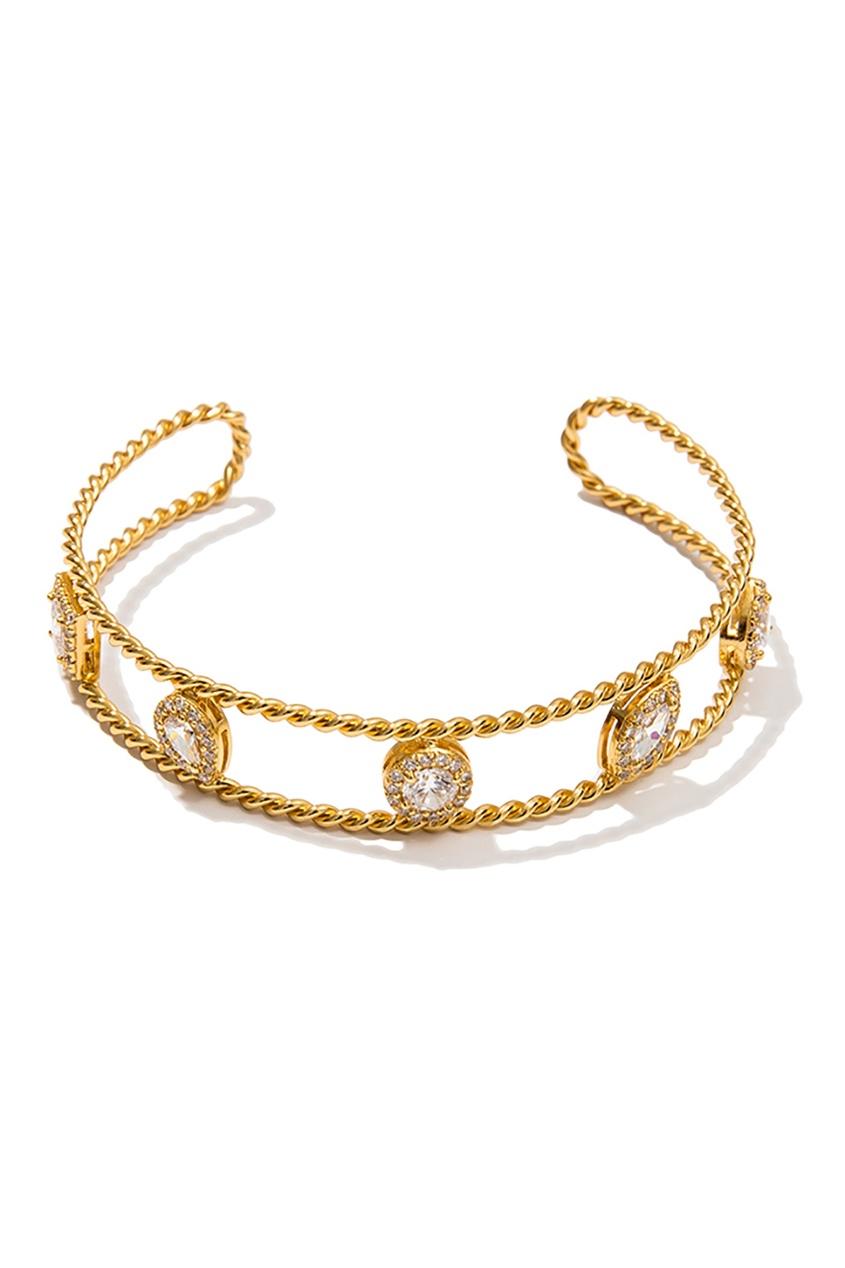 Золотистый серебряный браслет с инкрустацией