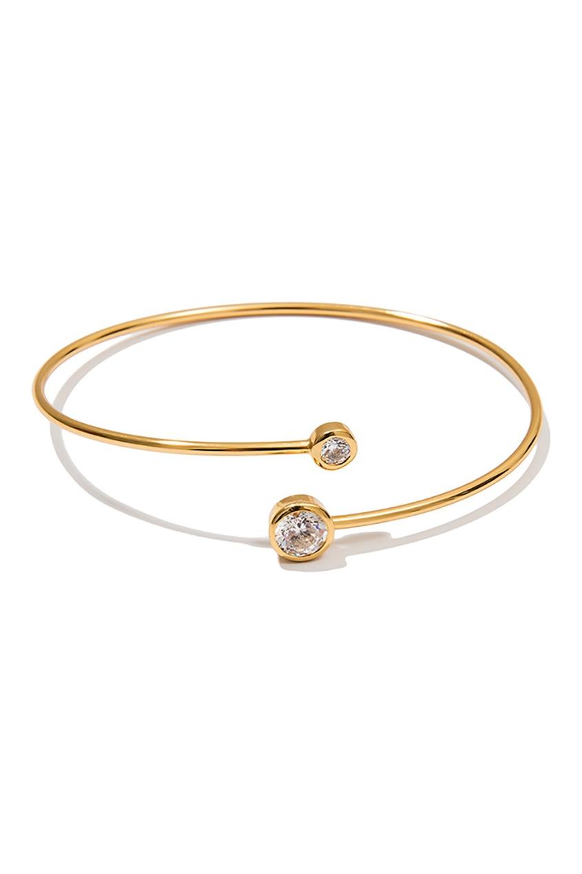 Exclaim Незамкнутый серебряный браслет с цирконами браслеты exclaim легкий браслет цепочка с миниатюрными цирконами
