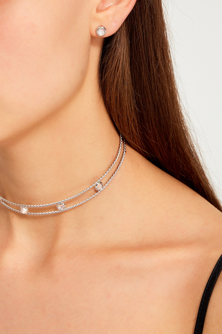 Exclaim Серьги-гвоздики серебряные со светлыми камнями