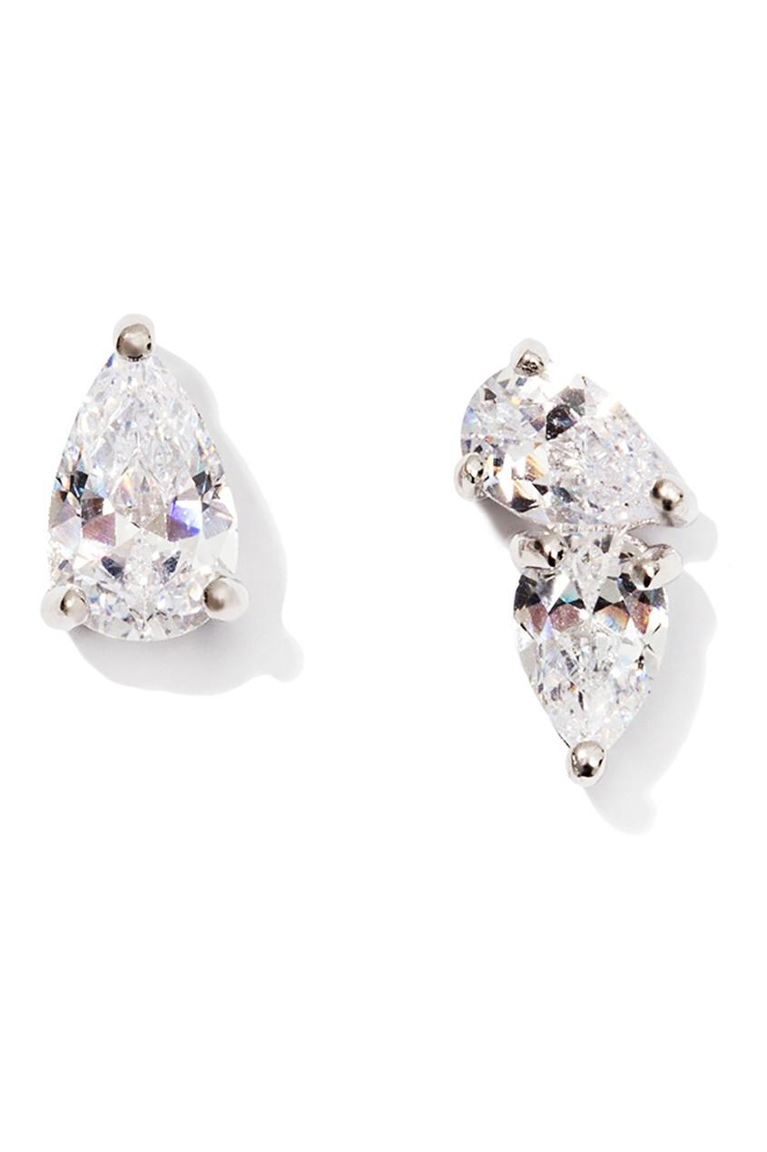 Exclaim Серьги-гвоздики серебряные с кристаллами exclaim серьги гвоздики серебряные с камнями