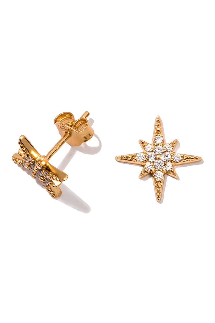 Exclaim Серьги-звезды серебряные с кристаллами exclaim серьги гвоздики серебряные с камнями