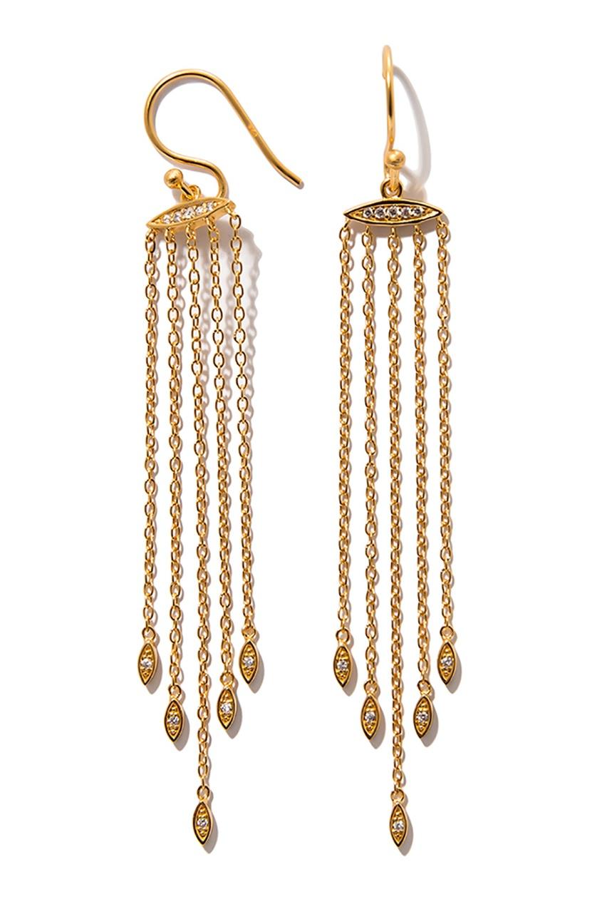Exclaim Длинные серебряные серьги-цепочки с кристаллами