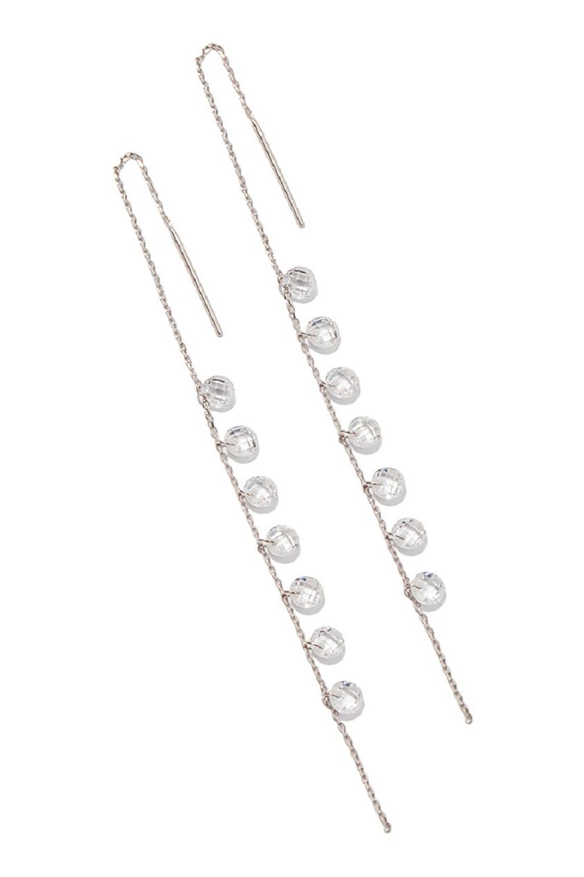 Exclaim Серебряные серьги с гранеными подвесками серьги с подвесками jv серебряные серьги с ювелирным стеклом eb3072cz us 002 wg
