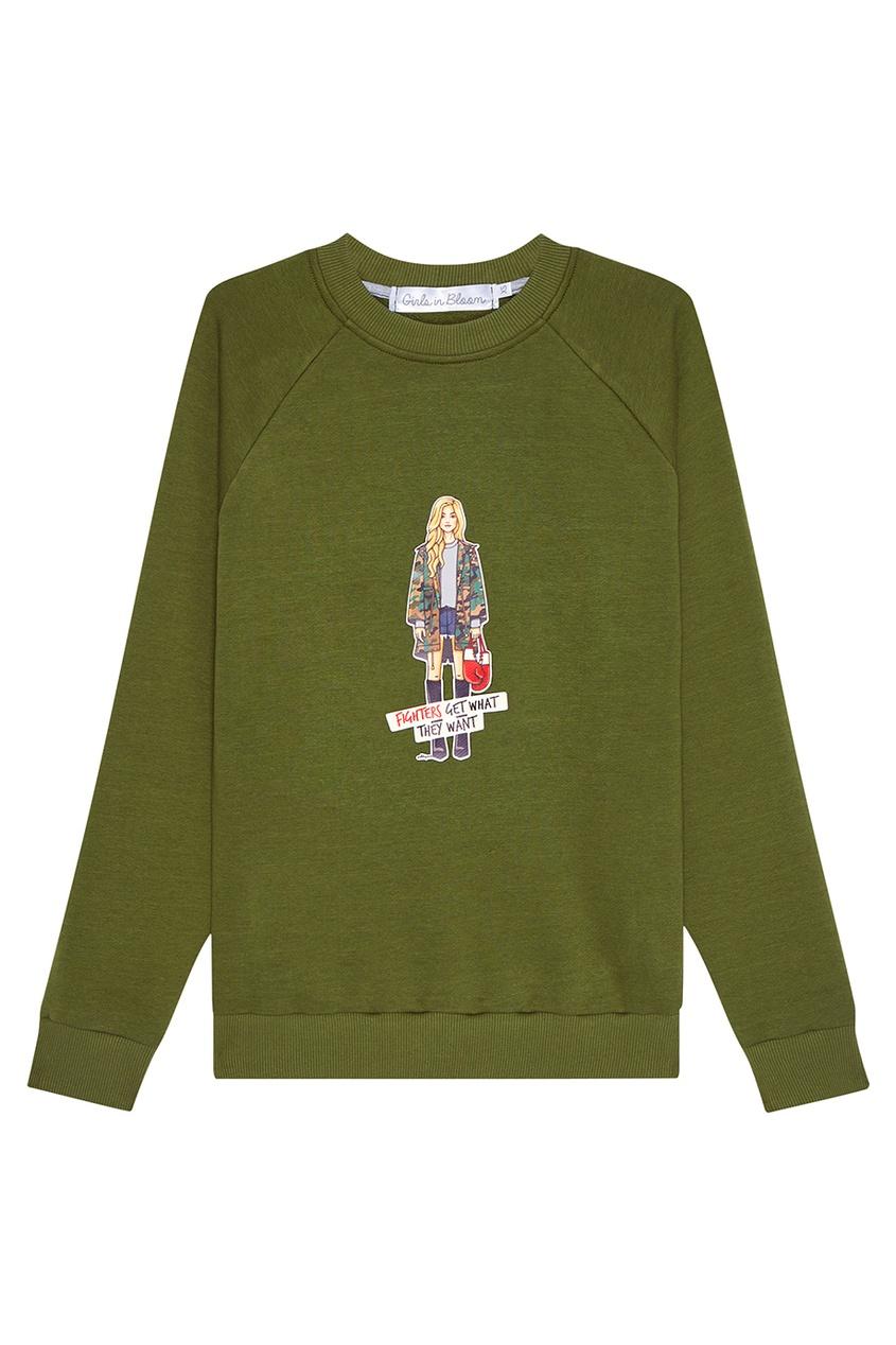 Girls In Bloom Зеленый свитшот с принтом бесплатная доставка diy kit электронные производство lm2902nsr ic операционные усилители gp 1 2 мгц quad 14sop 2902 lm2902 20 шт