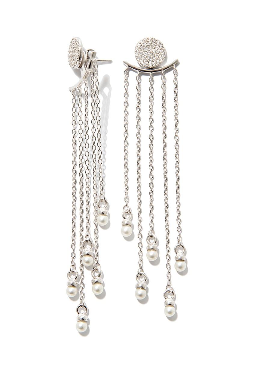 Exclaim Серебряные серьги с подвесками-цепочками