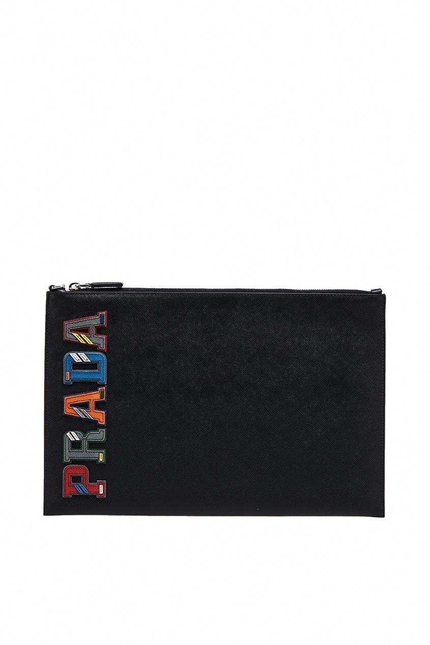 Prada Кожаный клатч-папка с логотипом прозрачный клатч на алиэкспресс