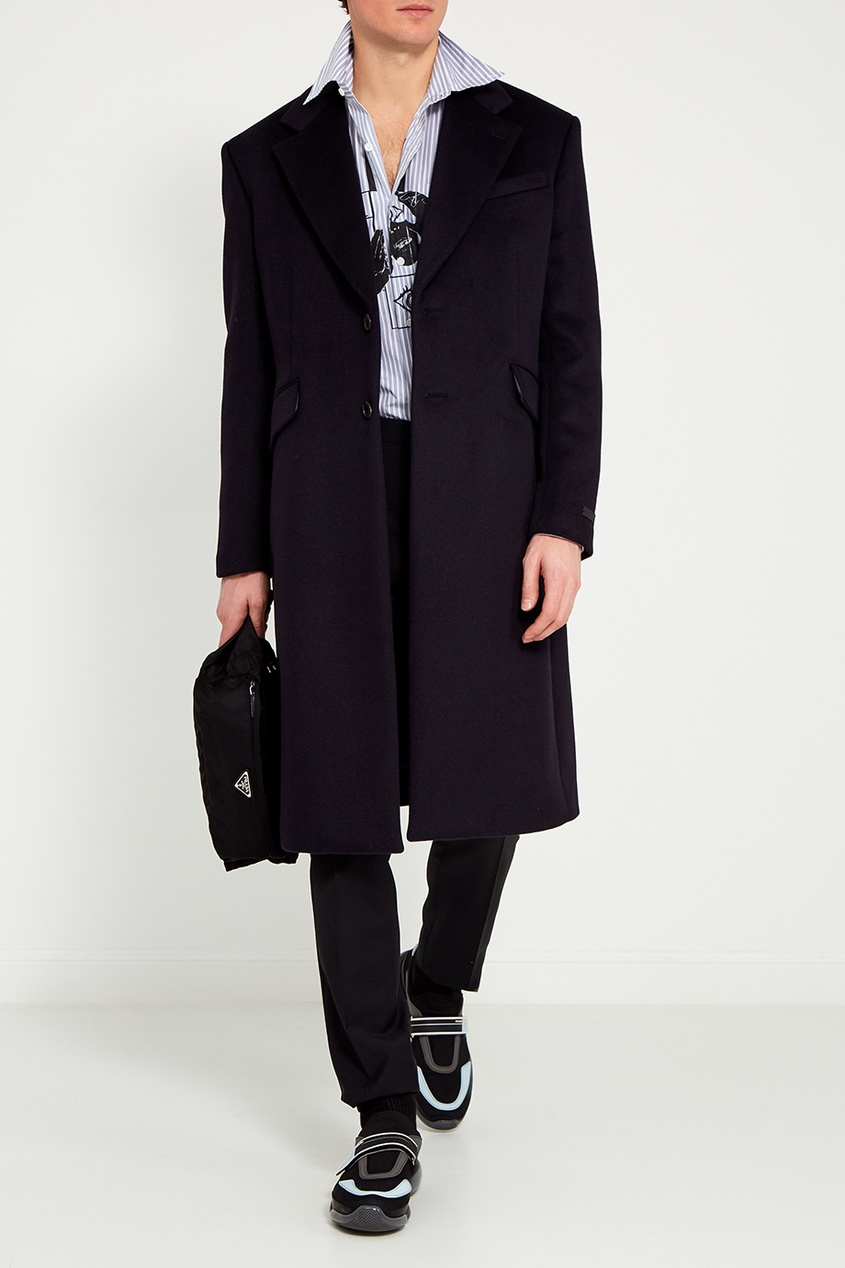 Prada Темно-синее драповое пальто драповое длинное пальто из шерсти claudius