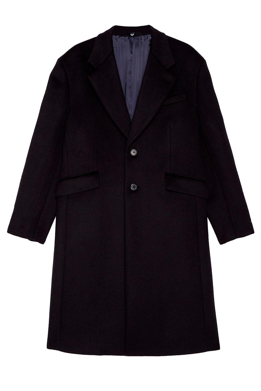Купить Темно-синее драповое пальто от Prada синего цвета