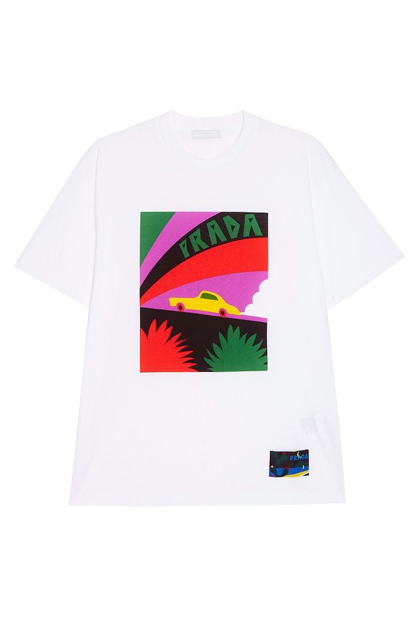 Prada Белая футболка с принтом футболка белая с ярким принтом catimini ут 00011630