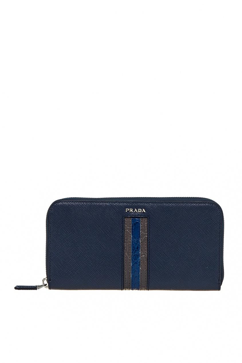 Синий сафьяновый кошелек от Prada