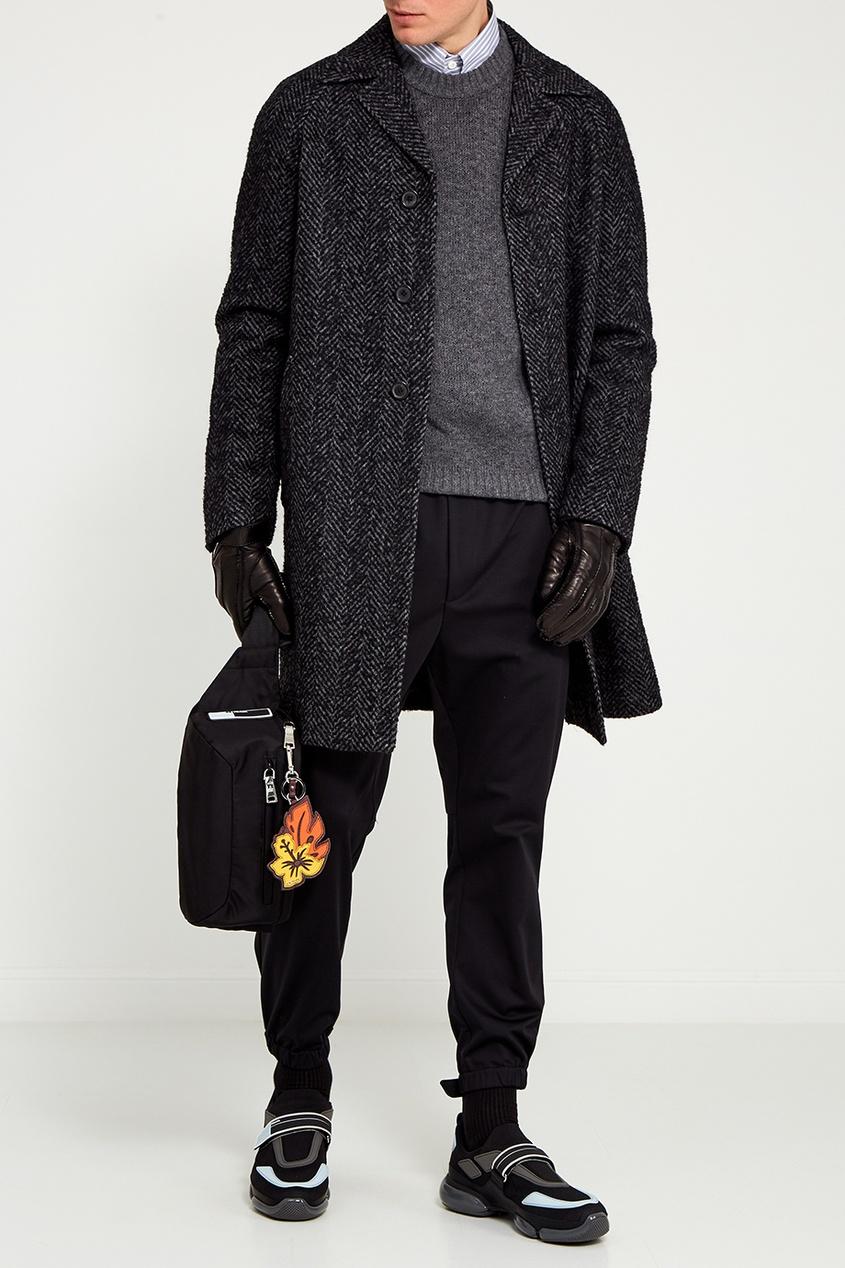 Prada Серое шерстяное пальто prada шерстяное платье мини