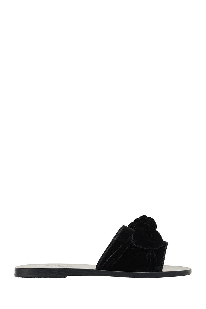 купить Ancient Greek Sandals Черные сандалии из бархата дешево