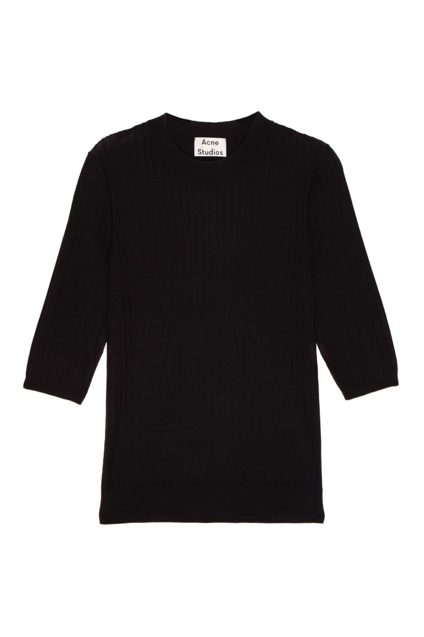Acne Studios Черный джемпер в рубчик Iza Rib acne studios серый шарф в рубчик abby