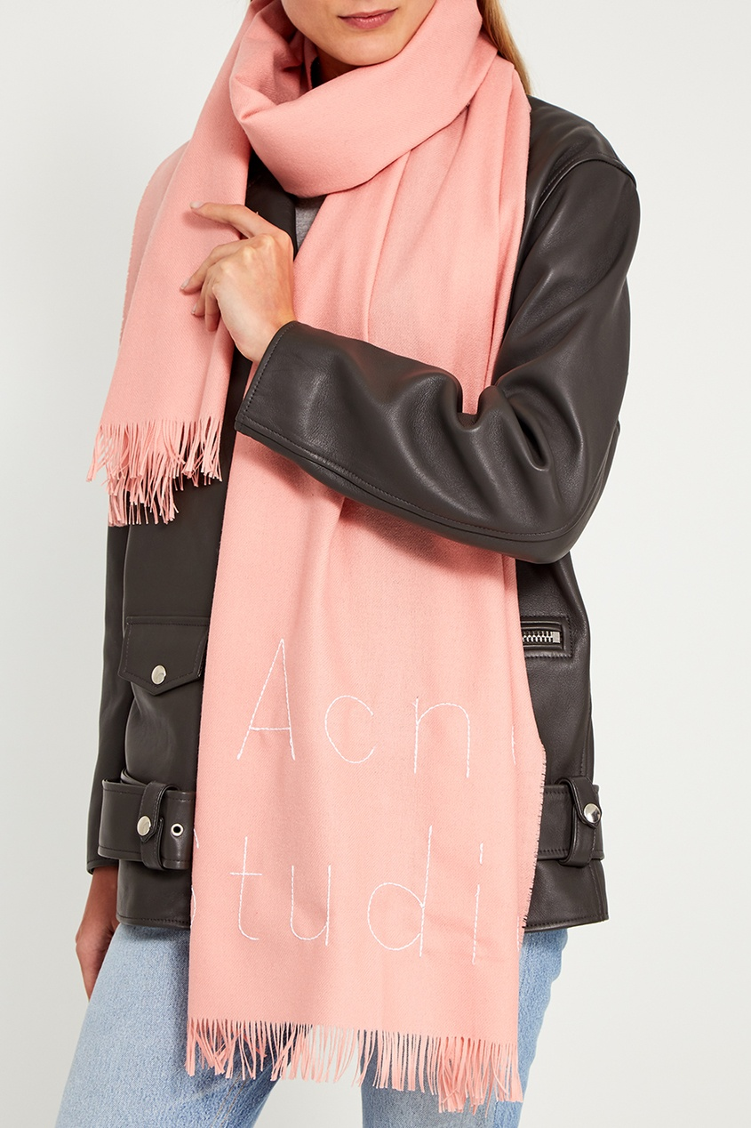 Acne Studios Розовый шарф с логотипом Ontario недорго, оригинальная цена