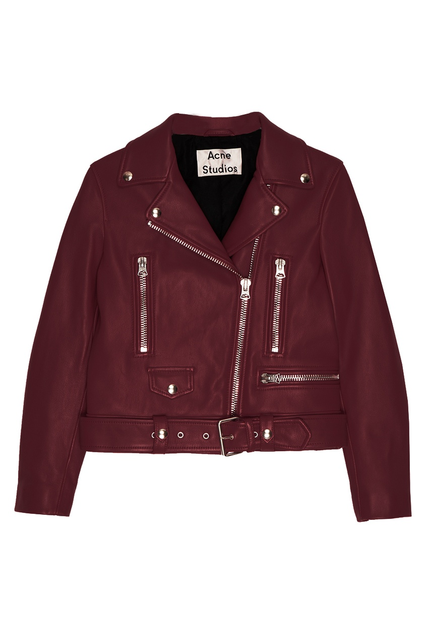 Acne Studios Бордовая куртка из кожи Merlyn acne studios кожаная куртка myrtle