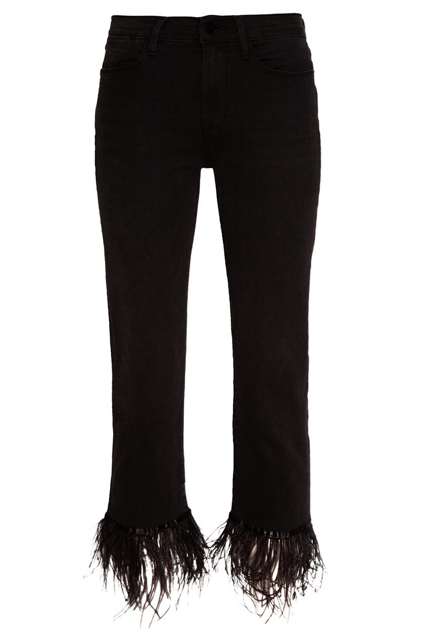 Frame Denim Черные джинсы с перьями frame
