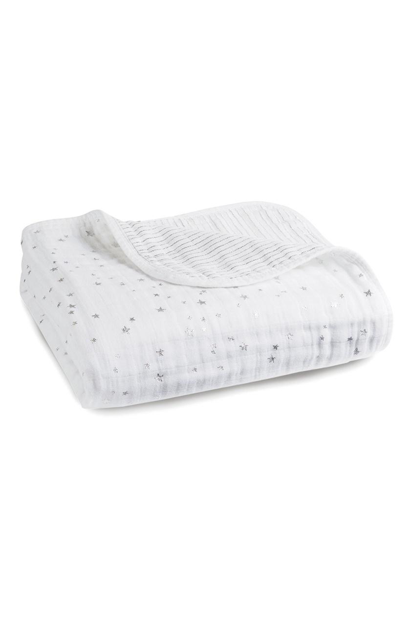 Белое одеяло с серебристым принтом