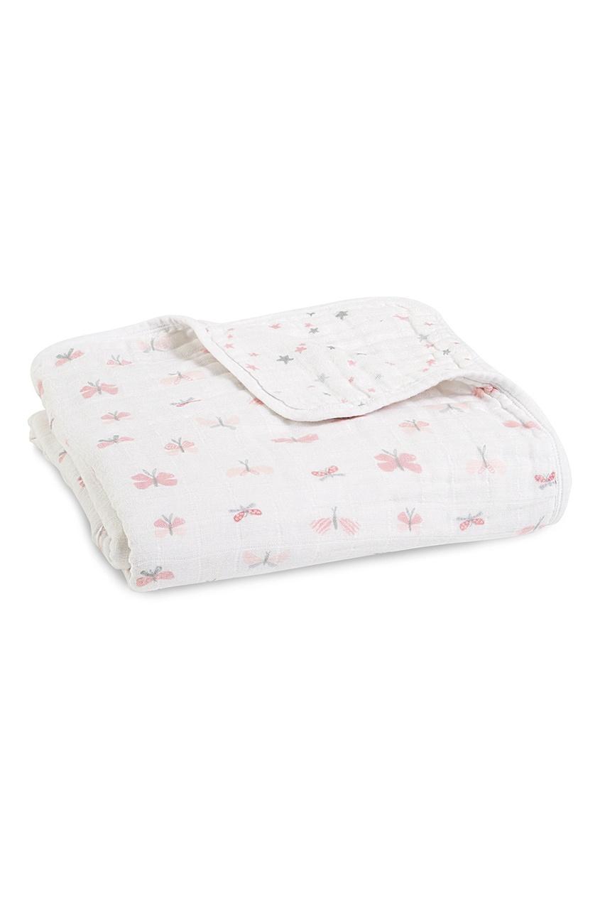 Белое одеяло с комбинированным принтом