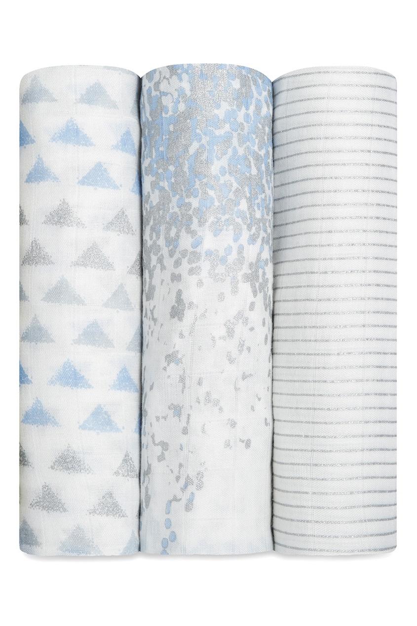 Бамбуковые пеленки с серо-голубым принтом