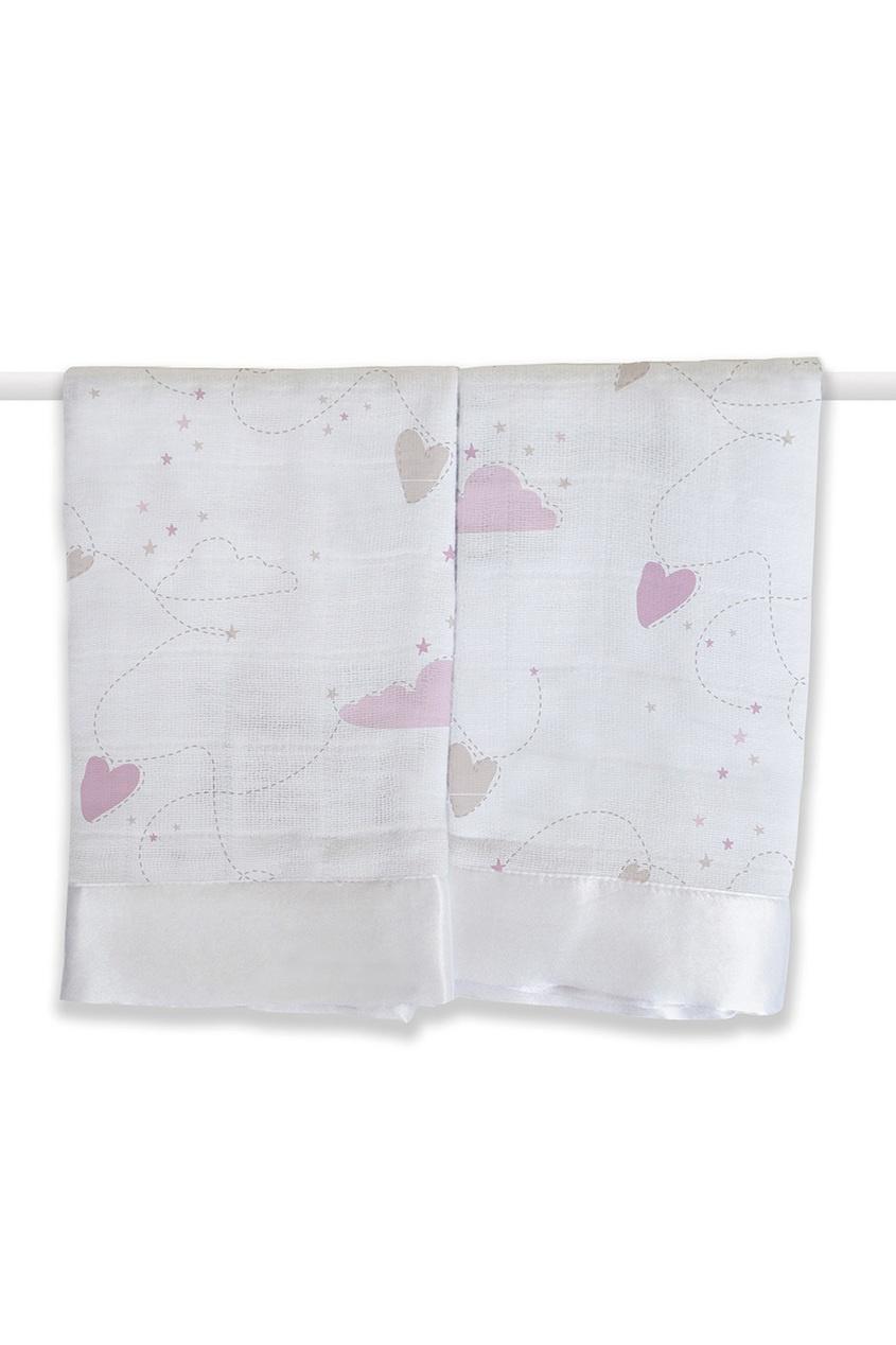 Хлопковые полотенца с принтом и окантовкой, 2 шт