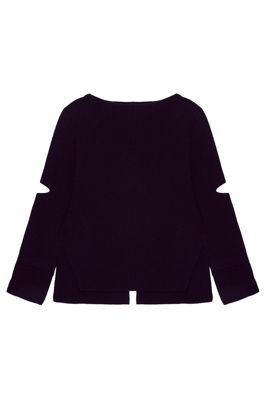 Черный шерстяной джемпер с разрезами