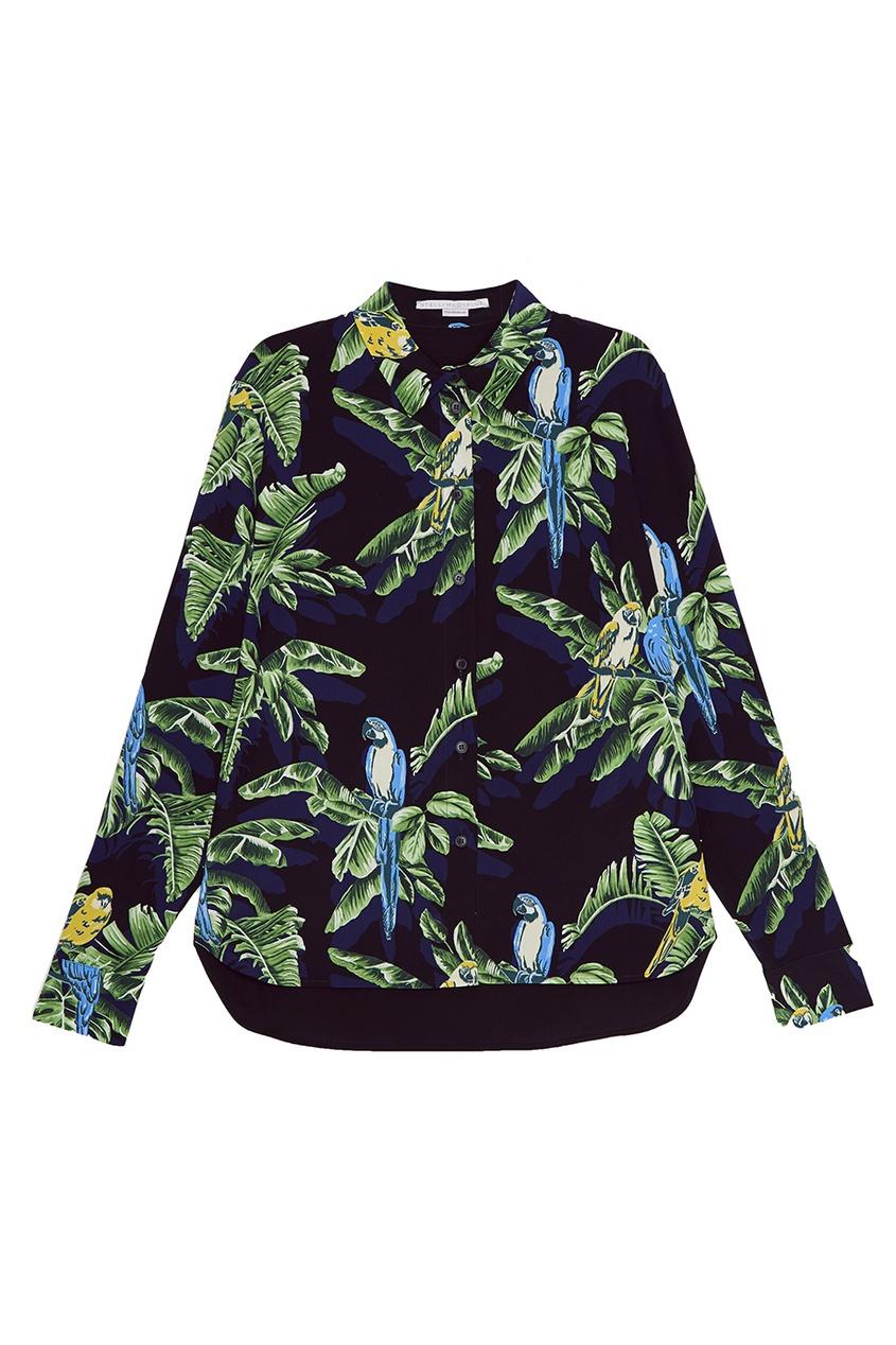 Stella McCartney Шелковая блузка с тропическим принтом stella mccartney блузка с жатым эффектом