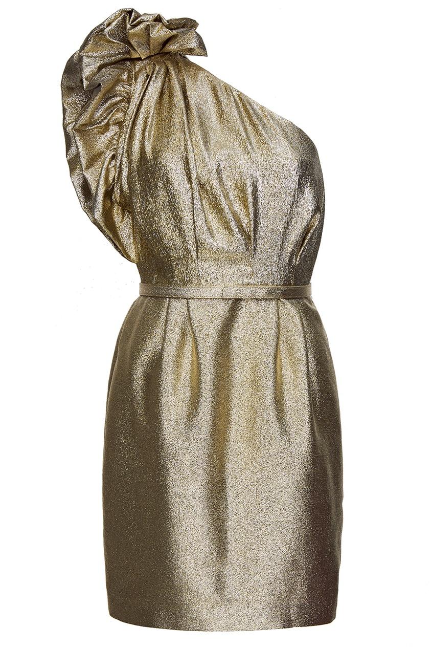 Stella McCartney Золотистое асимметричное платье stella mccartney красное платье с асимметричным подолом