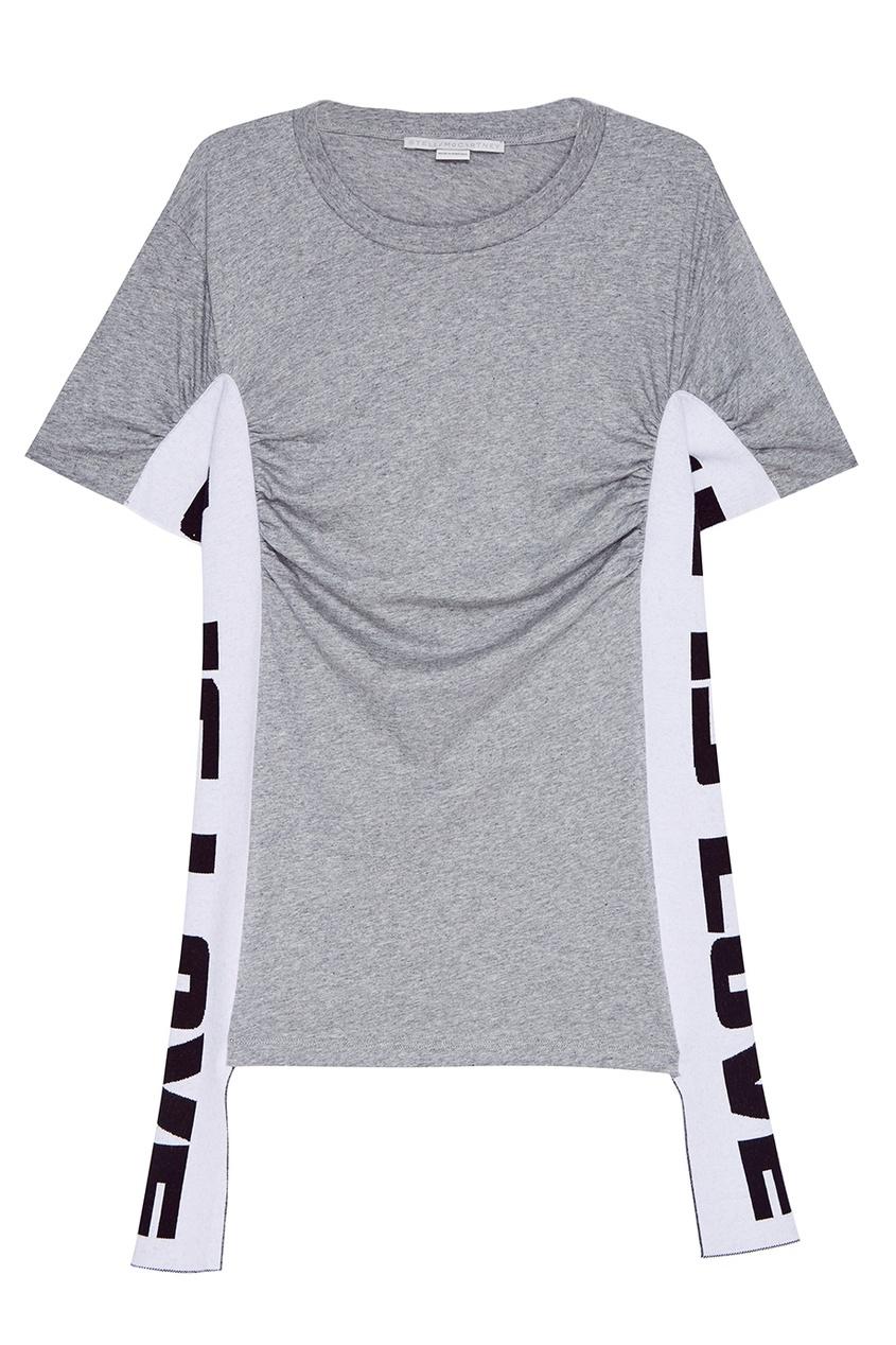Stella McCartney Хлопковая футболка с драпировками stella mccartney серая хлопковая водолазка