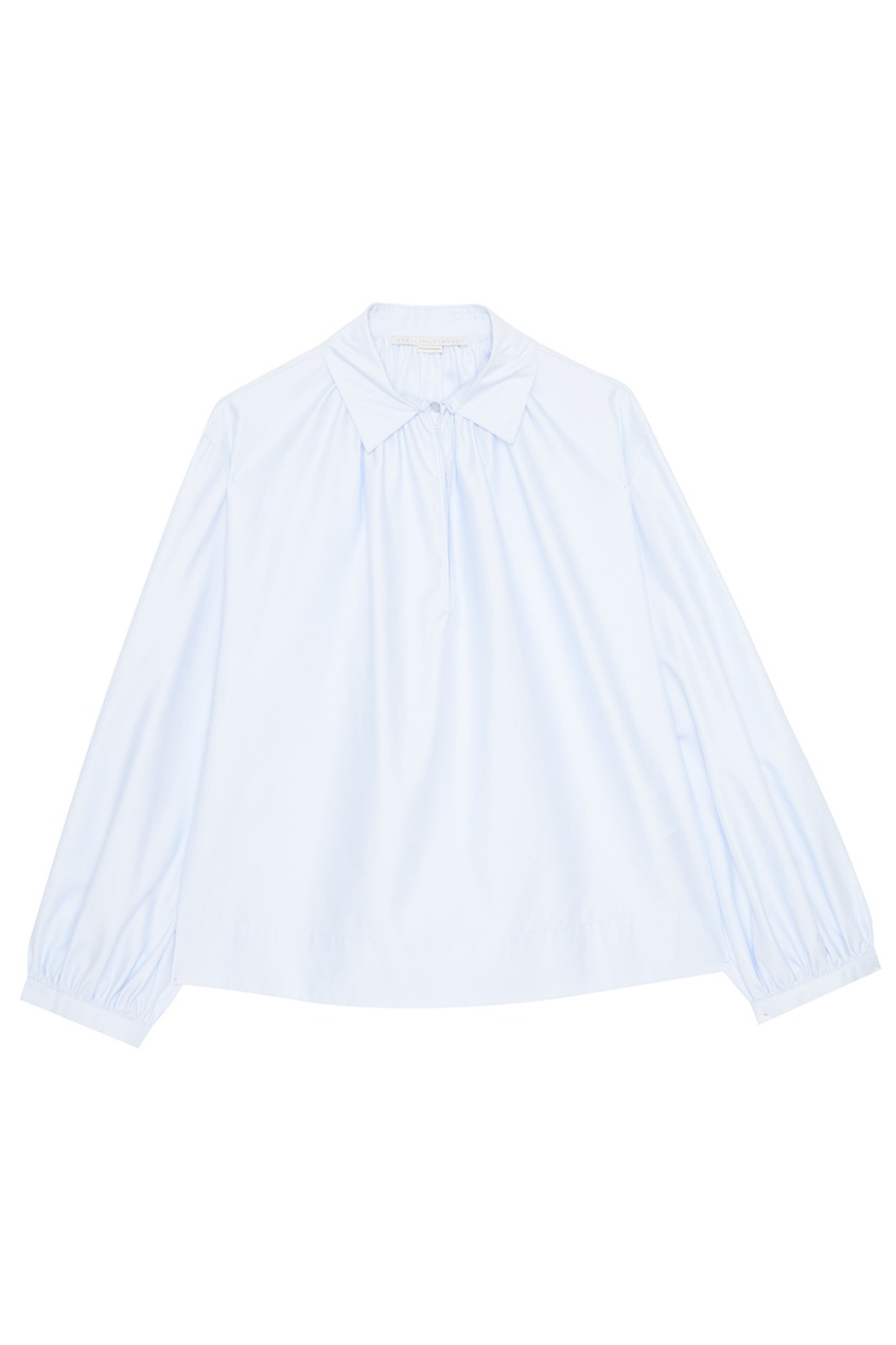 Stella McCartney Голубая блузка из хлопка stella mccartney блузка с жатым эффектом