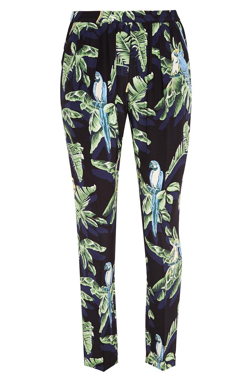 Stella McCartney Шелковые брюки с тропическим принтом stella mccartney шелковые брюки с принтом