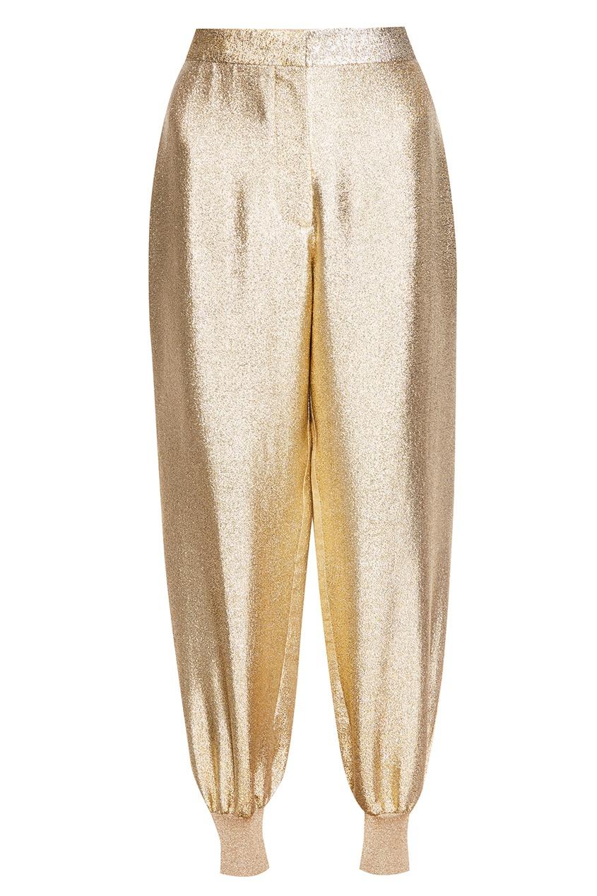 Золотистые брюки-джоггеры