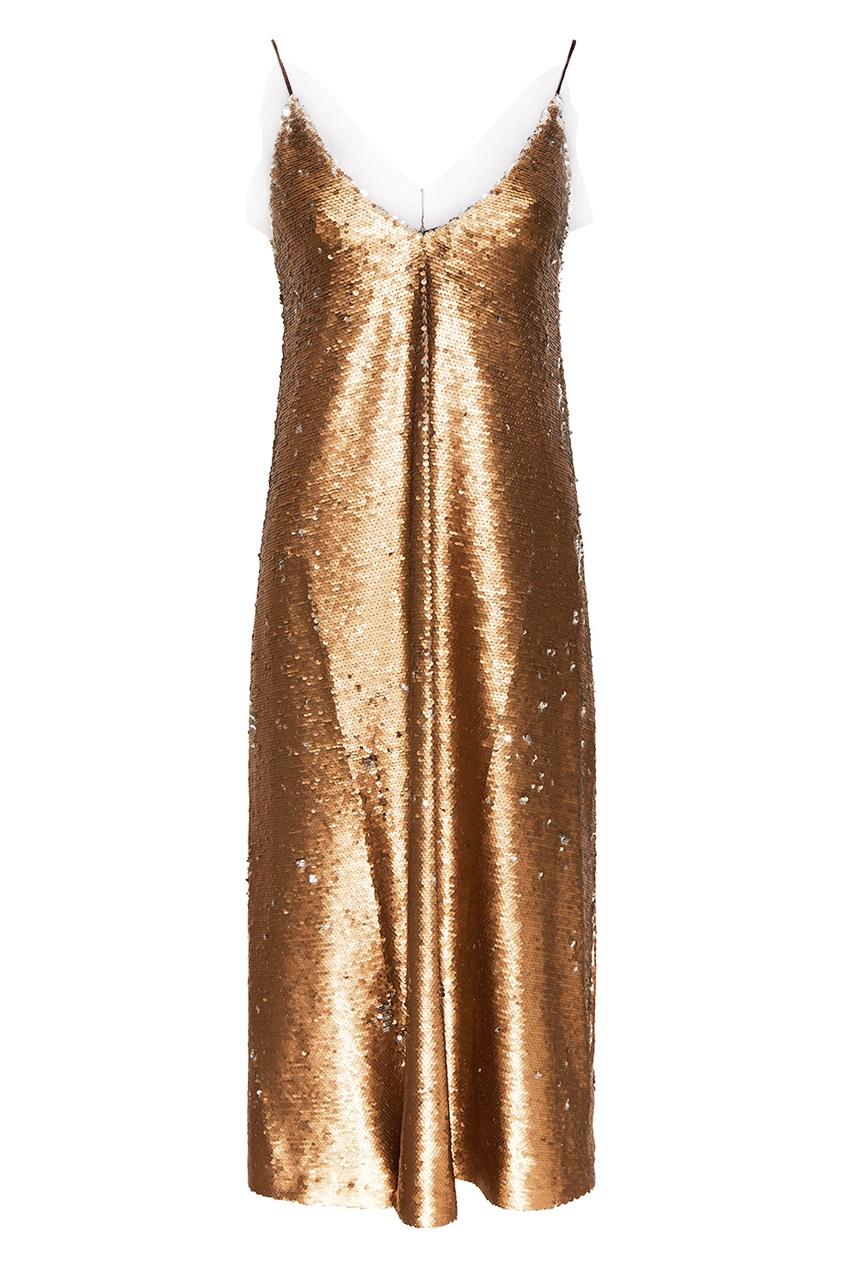 ЛИ-ЛУ Золотистое платье с пайетками