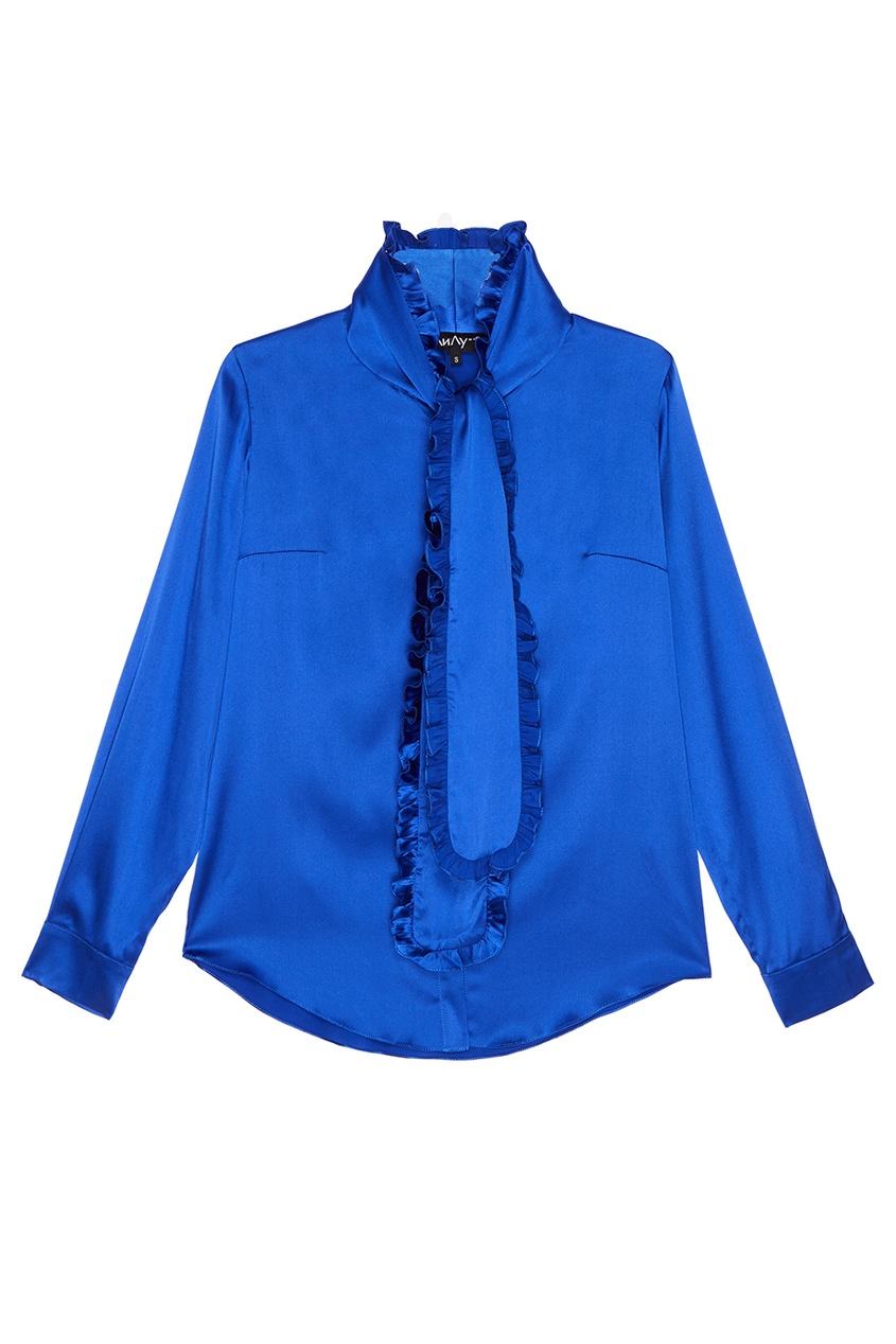 ЛИ-ЛУ Синяя блузка с завязками