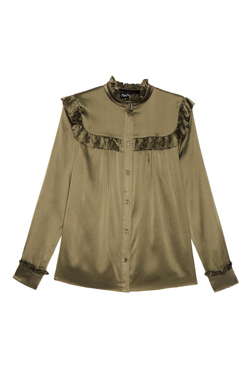 Фото ЛИ-ЛУ Зеленая блузка с оборками