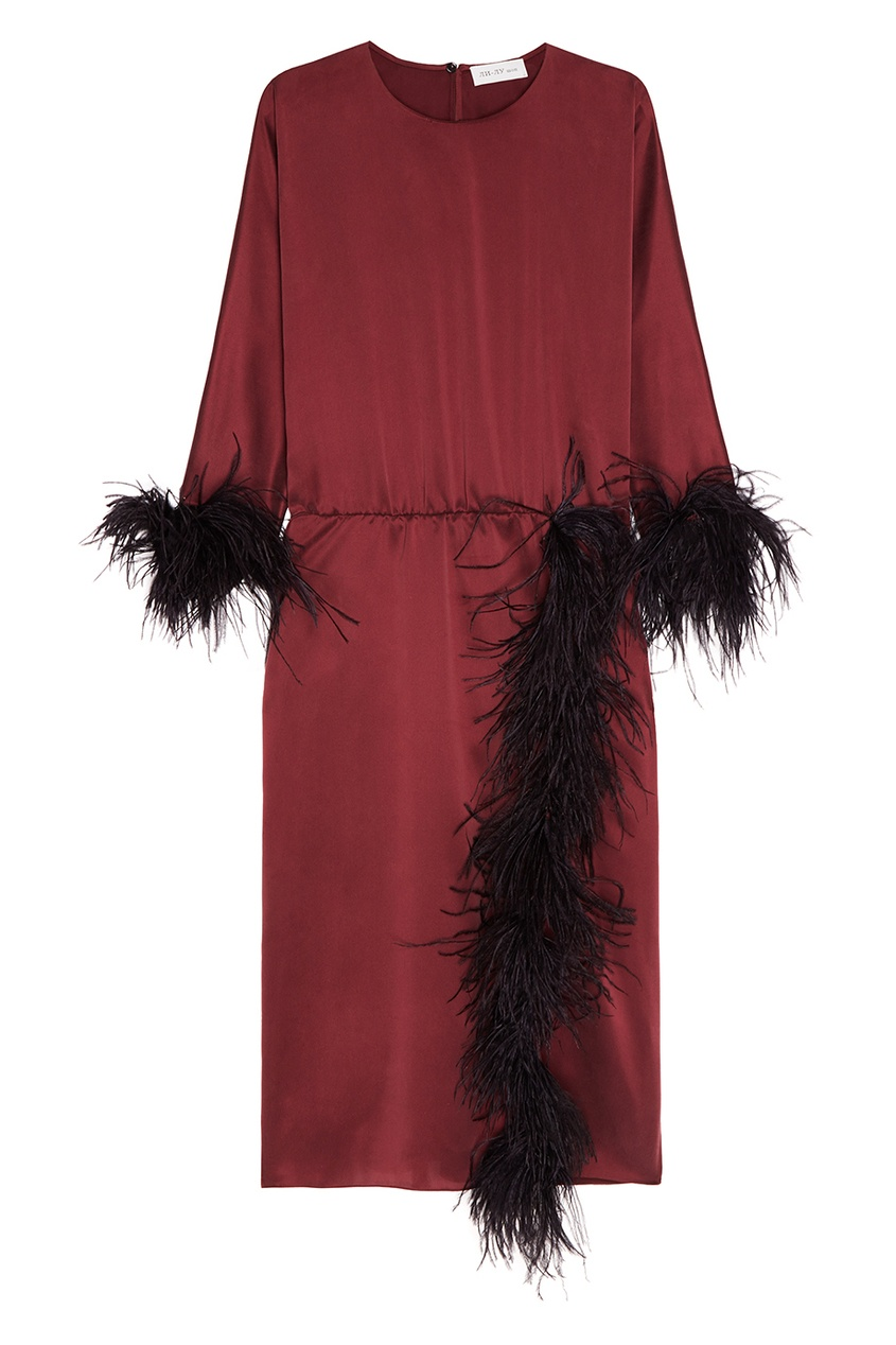ЛИ-ЛУ Шелковое платье с перьями