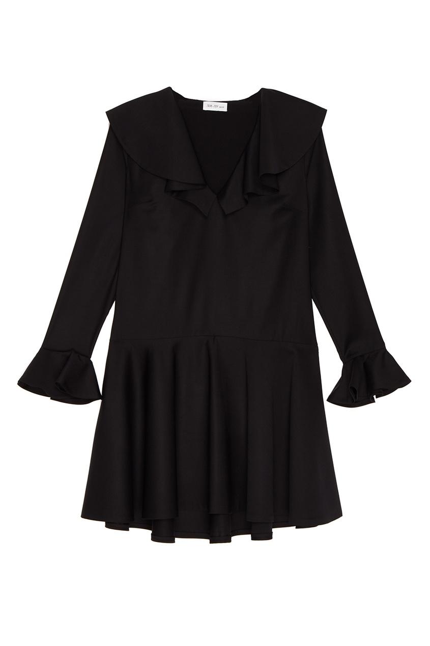 ЛИ-ЛУ Шерстяное платье с воланами