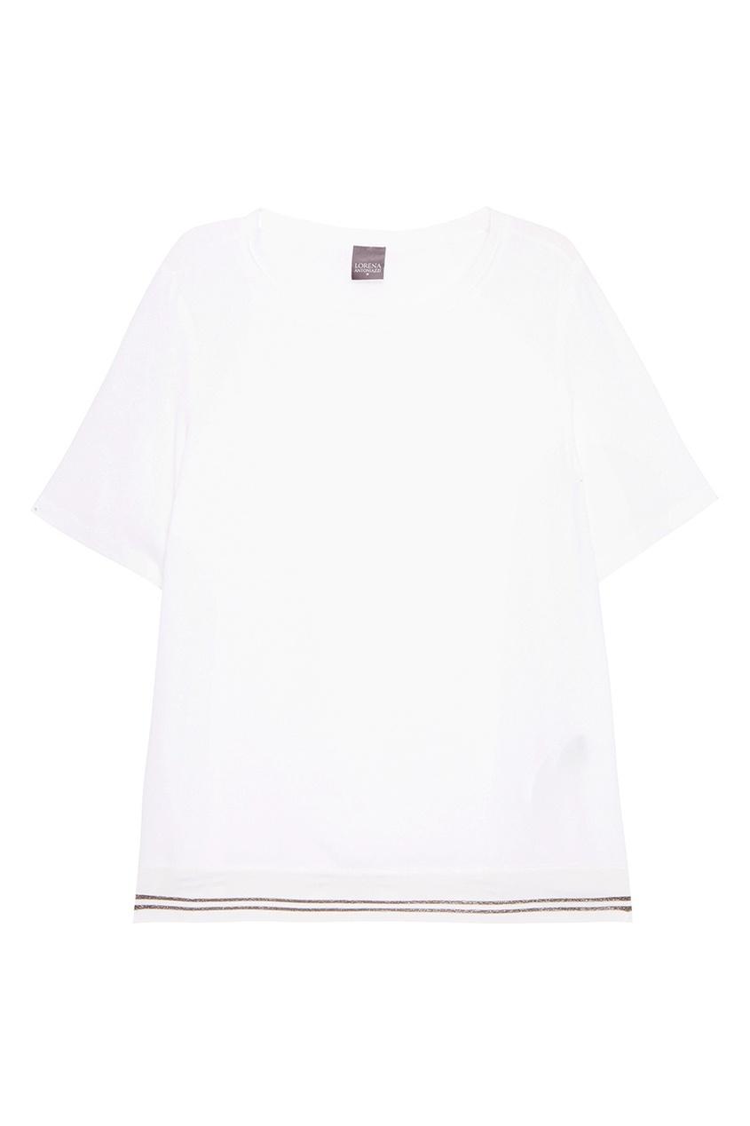 Lorena Antoniazzi Белая футболка с шелком lorena antoniazzi pубашка