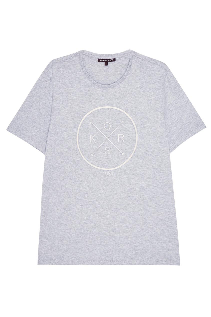 Michael Kors Collection Серая футболка с вышивкой michael kors collection кашемировый джемпер