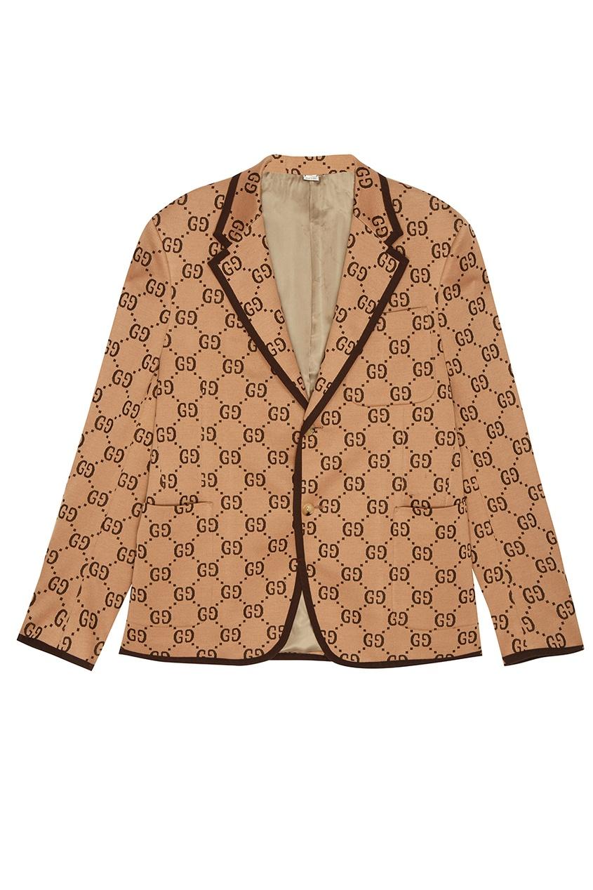 Пиджак из шерсти и хлопка