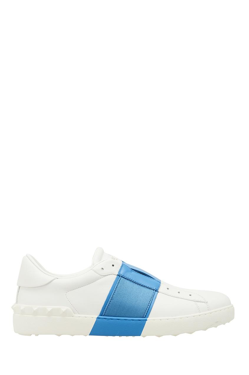 Valentino Белые кеды с синей полосой