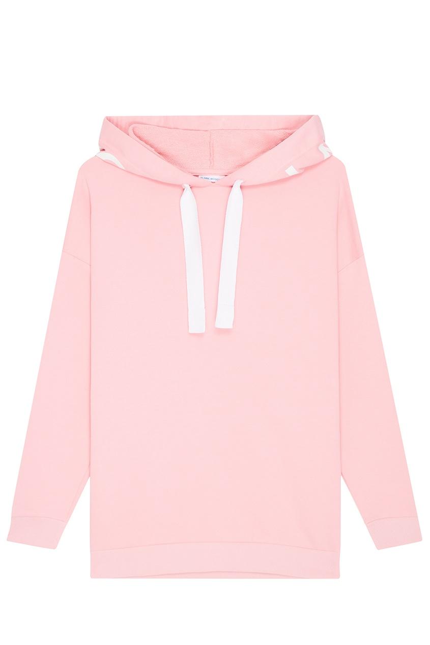Розовое худи с логотипом на капюшоне