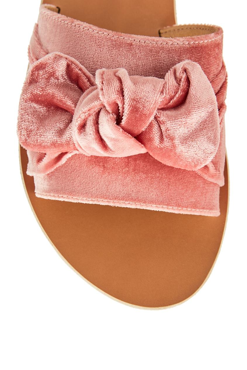 купить Ancient Greek Sandals Розовые сандалии из бархата дешево