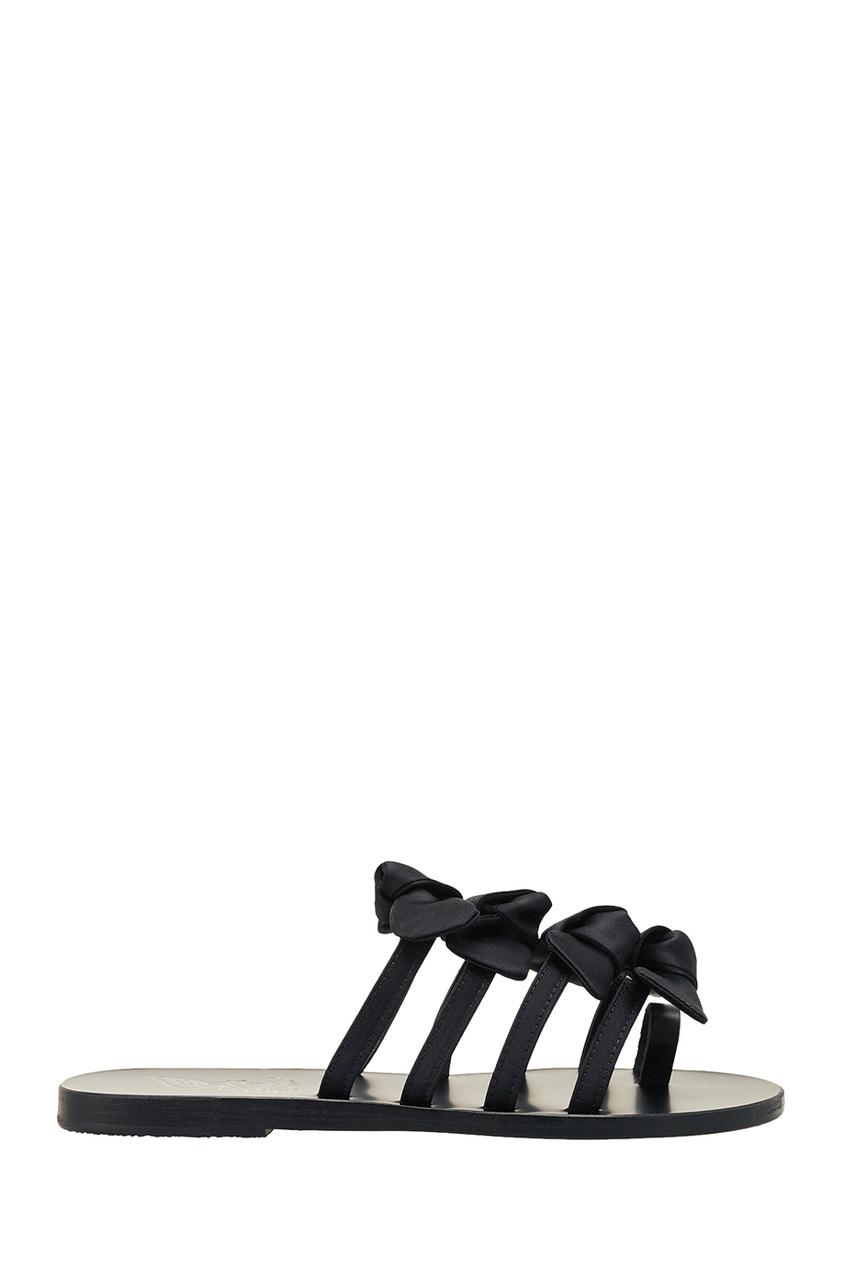 купить Ancient Greek Sandals Черные сандалии с бантами дешево