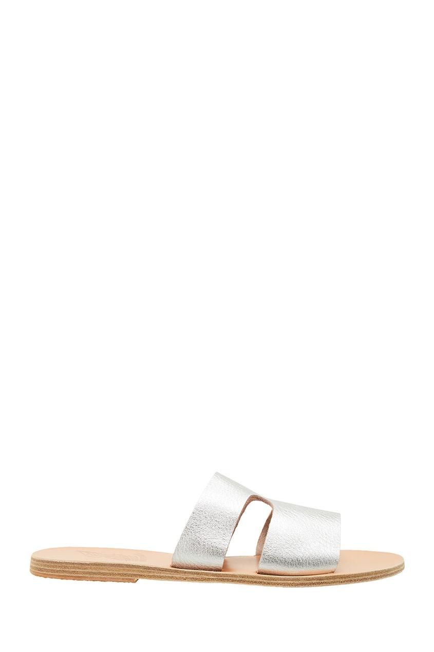 купить Ancient Greek Sandals Сандалии из серебристой кожи дешево