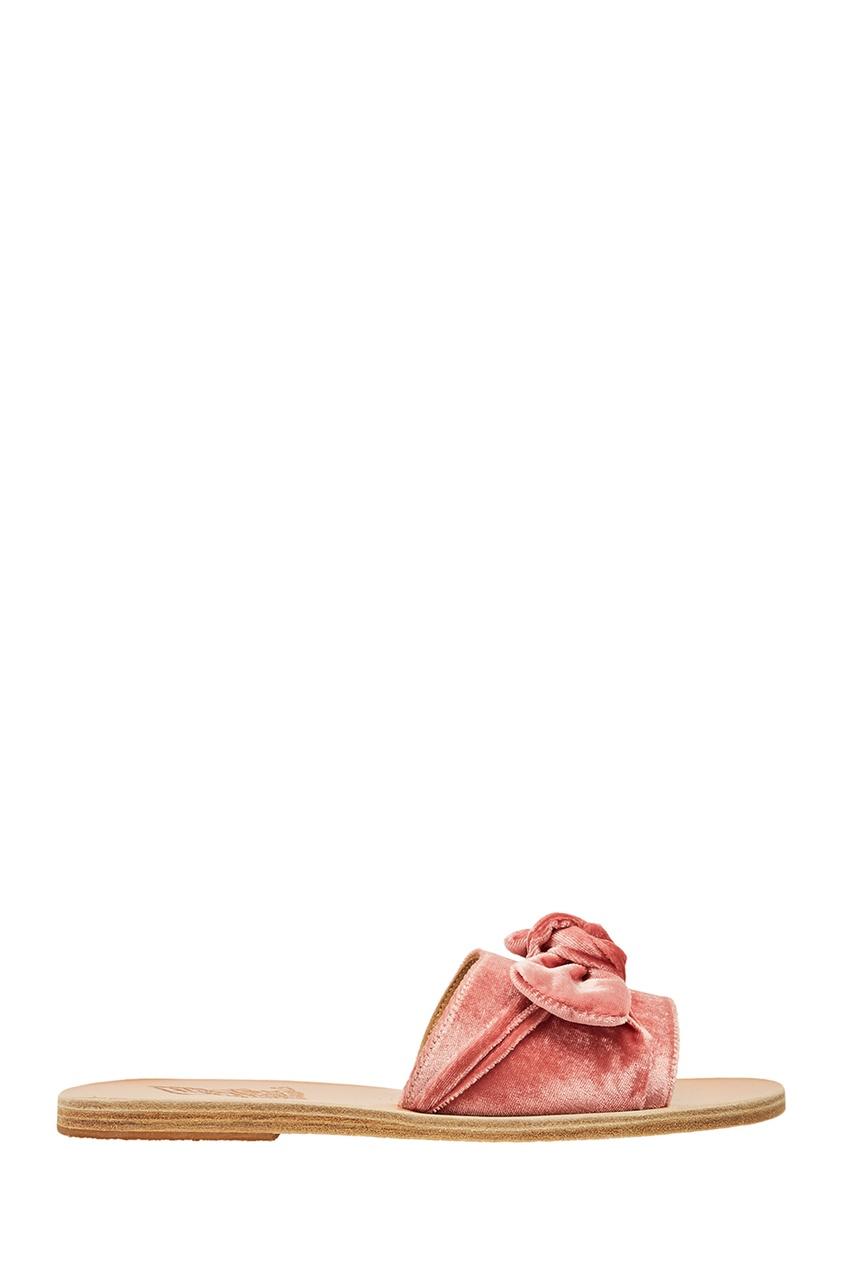 Розовые сандалии из бархата