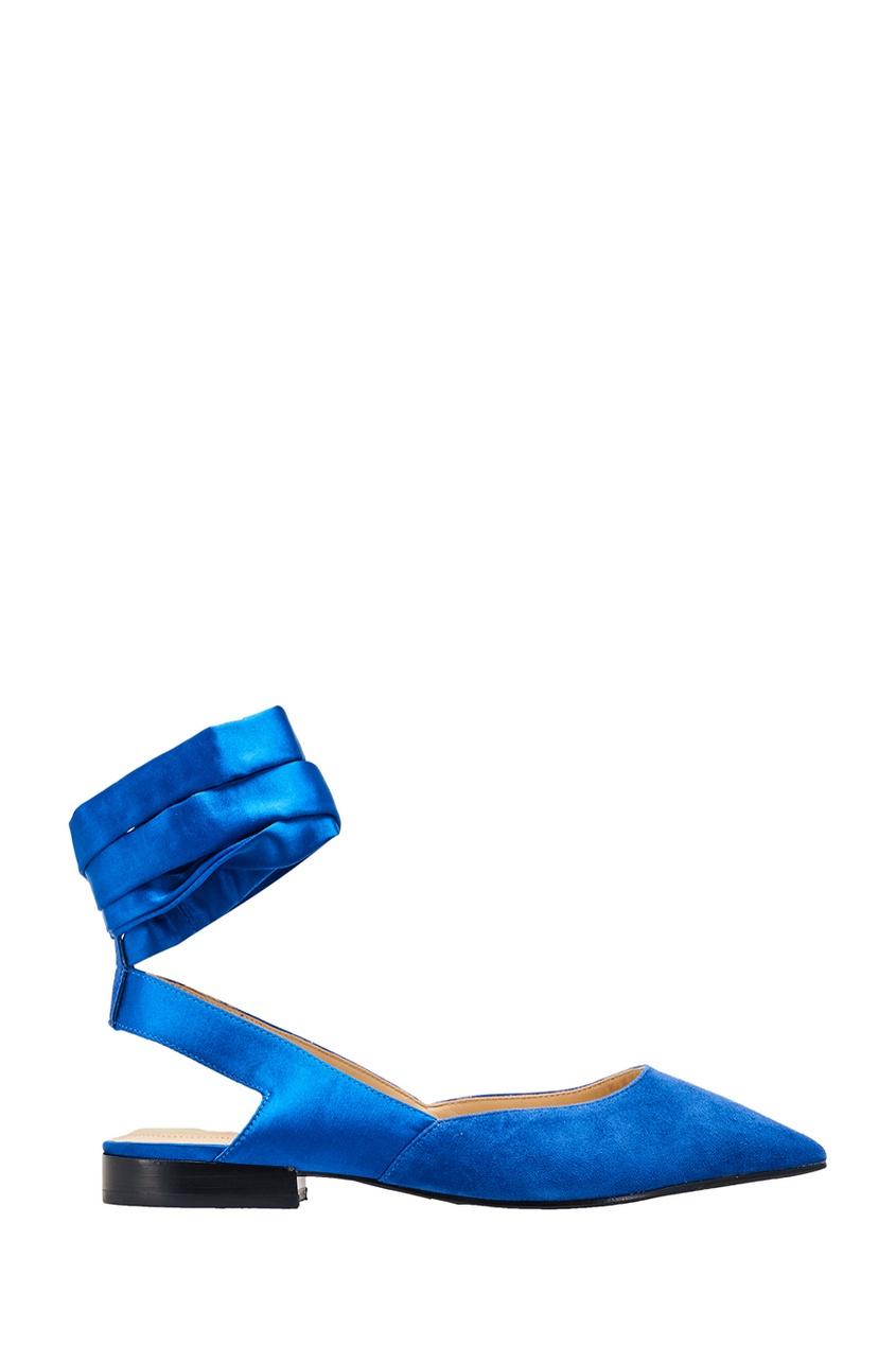 Синие балетки с лентами