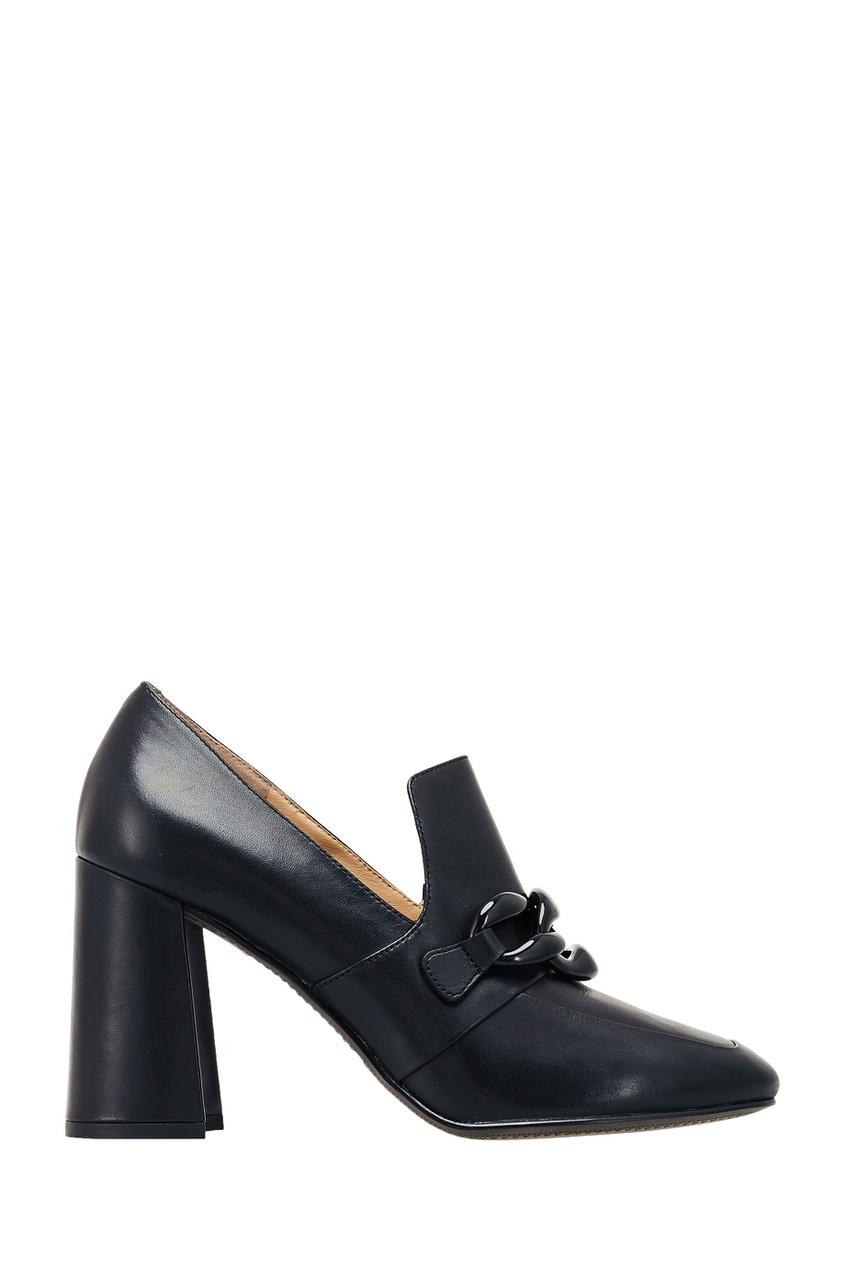 Черные кожаные туфли с цепью