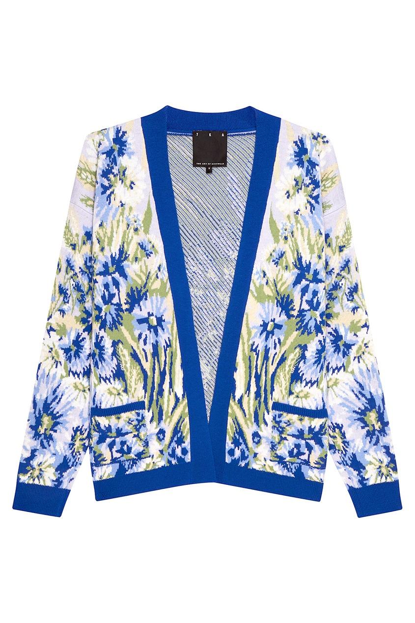 Синий шерстяной кардиган с цветами