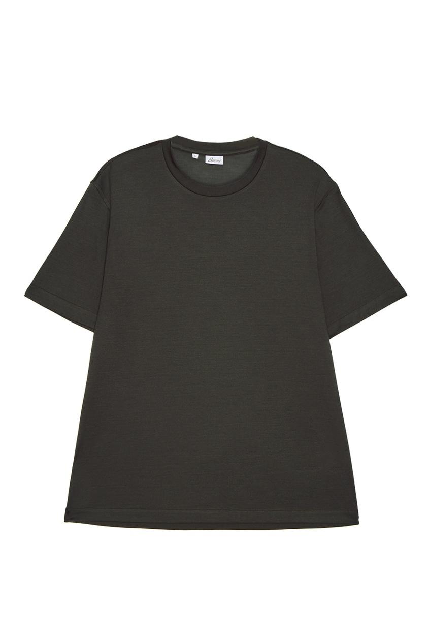 BRIONI Зеленая футболка из хлопка brioni шерстяные брюки серые