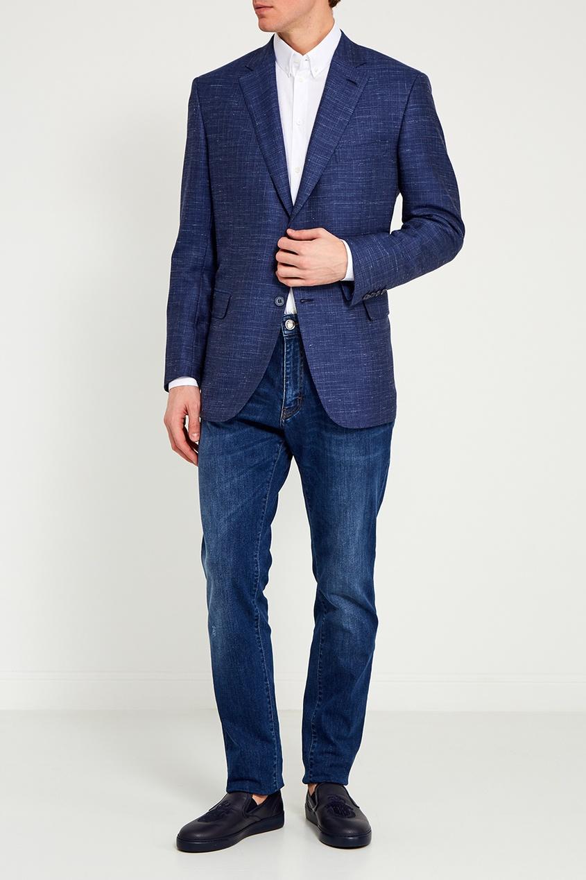 BRIONI Синий пиджак из шерстяного микса пиджак костюмный из льна